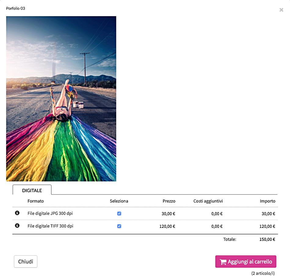 Galleria fotografica privata in vendita con download digitale