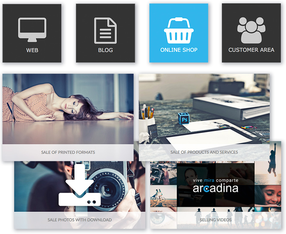 Create a photo website with integrated online store