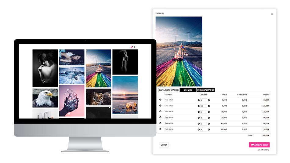 Venta de fotos con formatos de impresión
