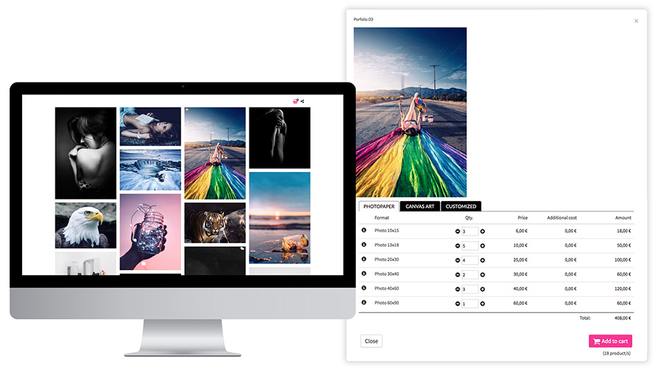 Sale of photos with print formats