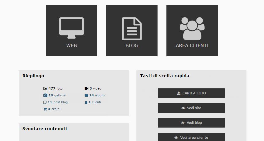Arcadina - Pannello di controllo del tuo sito web